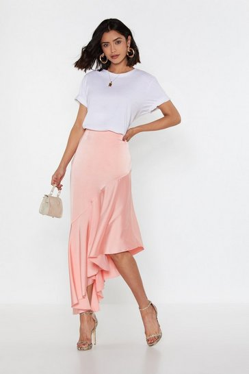 Womens Coral Drop Down Satin Midi Skirt