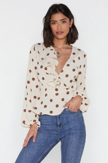 Womens Nude You've Dot the Love Polka Dot Ruffle Blouse