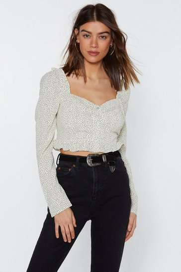 Womens Sage Thanks a Dot Polka Dot Cropped Blouse