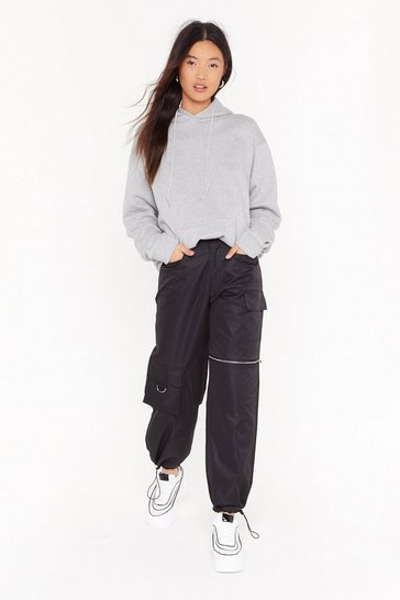 Womens Black From the Get Cargo Zip Pants