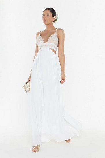Womens Nude Open Bar Two-Part Bridal Dress