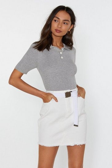 Womens Grey Collar Bills Ribbed Polo Top