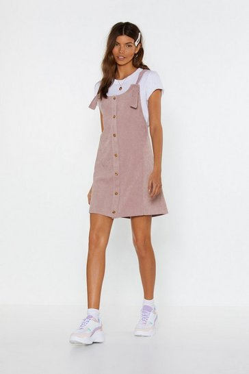 Rose Cord Button Down Mini Dress