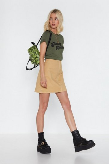 Womens Camel Heard Sew Much About Utility Mini Skirt