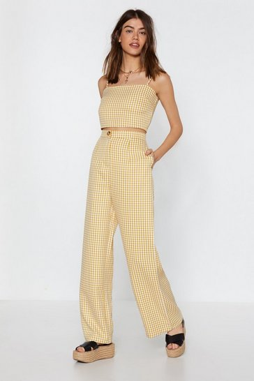 Womens Mustard Box to the Drawing Board Gingham Wide-Leg Pants