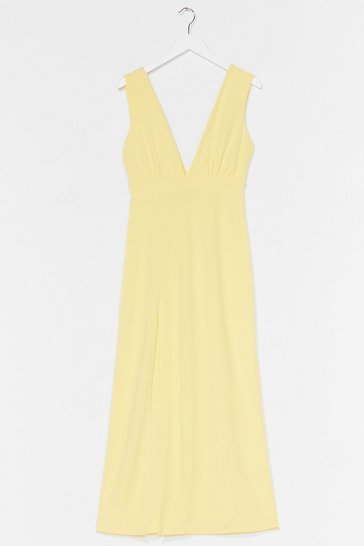 Lemon Plunging V-Neckline Midi Dress with Slit at Side