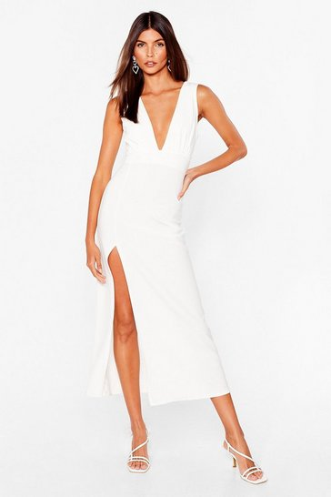 White Plunging V-Neckline Midi Dress with Slit at Side