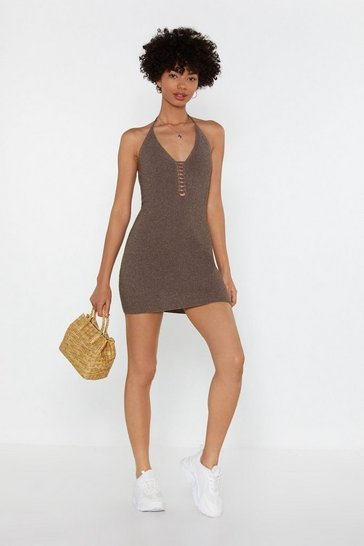Womens Tobacco Ladders Babe Pointelle Halter Dress
