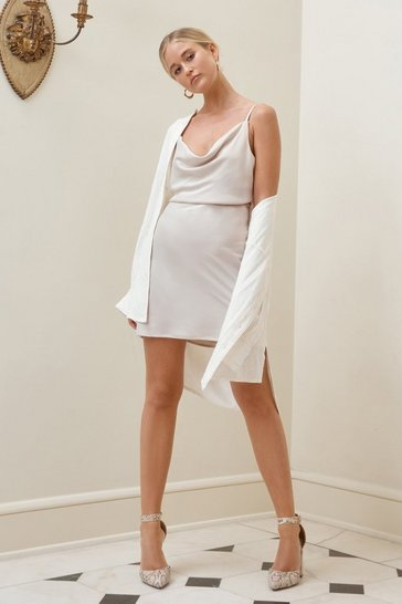 Oyster White Satin Cowl Mini Dress