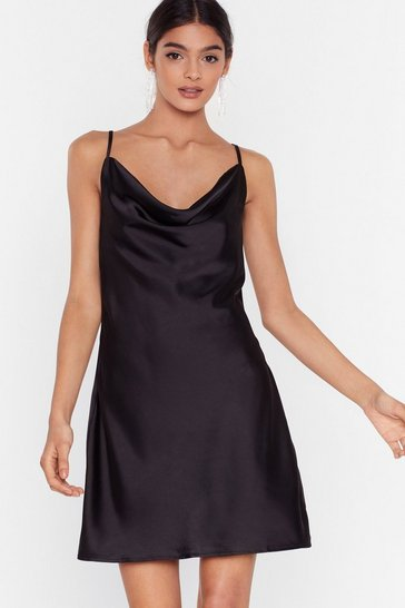 Black Satin Cowl Mini Dress
