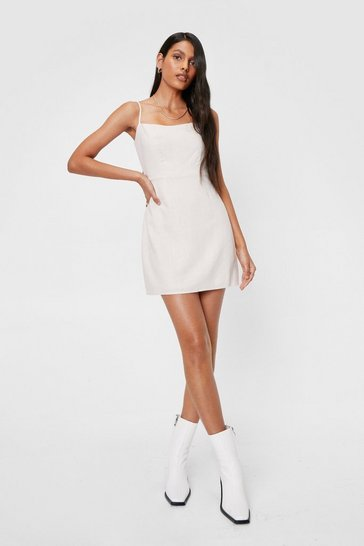 Cream Linen Look Square Neck Mini Dress