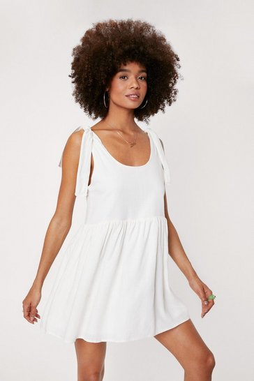 Womens White Tie Me a River Mini Dress