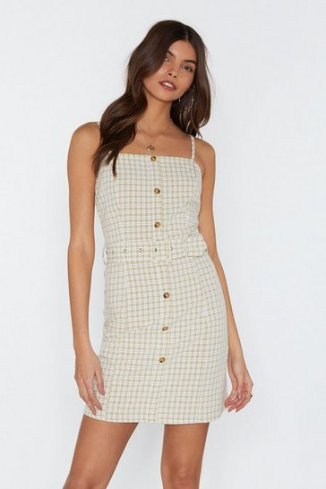 Womens Sage Belt Nice Check Mini Dress