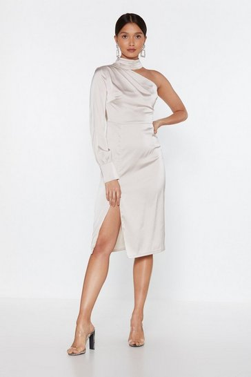 Womens Oyster I'm the Only One Shoulder Satin Midi Dress