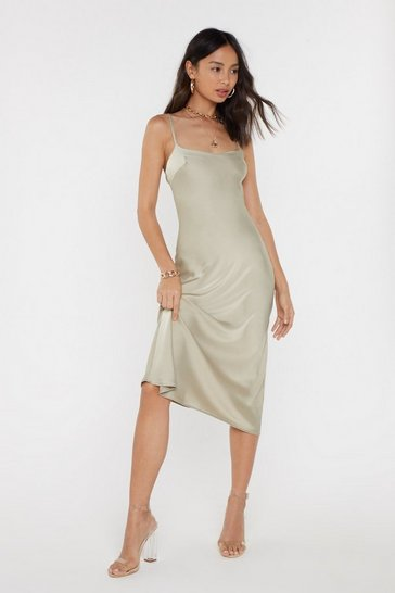 Sand Bias Cut Square Neck Satin Midi Dress