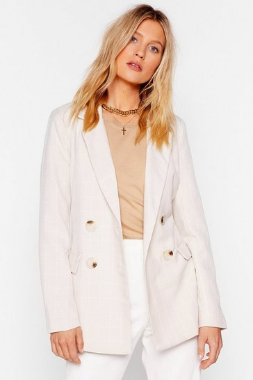 Womens Beige What a Great Square Check Blazer