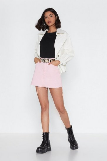 Womens Pink With You in a Mini Denim Skirt