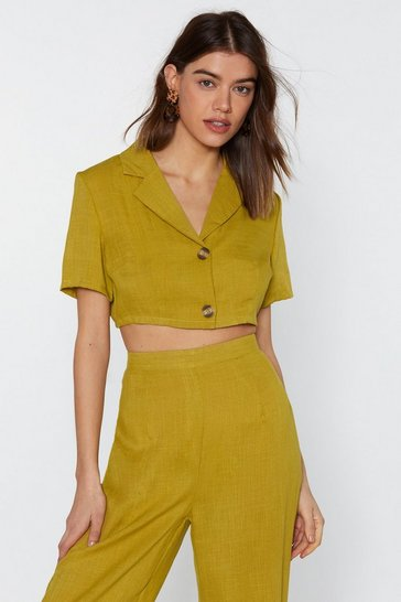 Womens Lime In It to Linen It Cropped Shirt