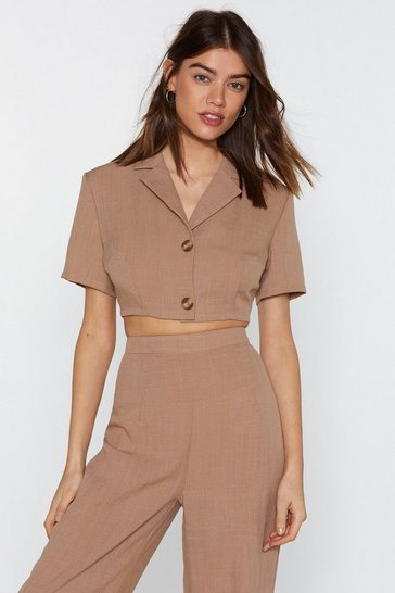 Womens Tan In It to Linen It Cropped Shirt