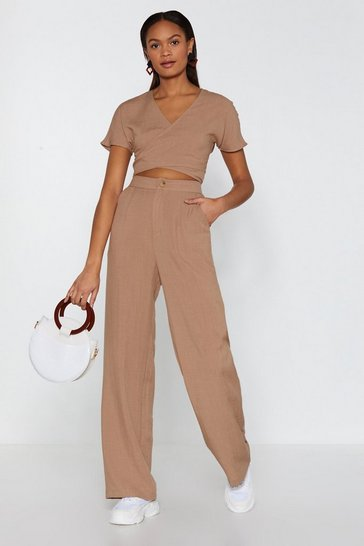 Womens Beige Do Your Best Textured Wide-Leg Pants