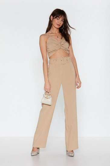 Womens Beige Linen in to Temptation Wide-Leg Pants
