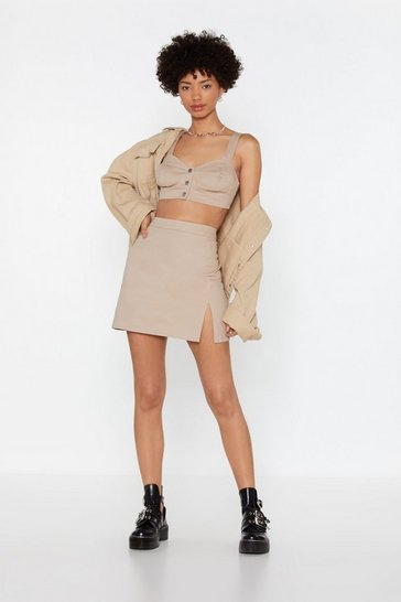 Womens Beige Slit This One Out High-Waisted Mini Skirt