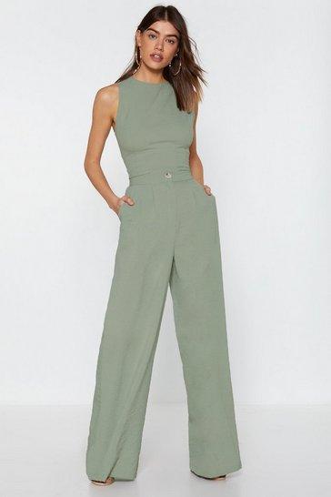 Mint Wide Leg High Waisted Pants