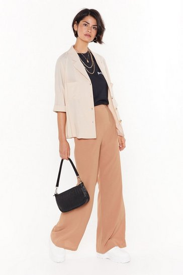 Beige Cut Down to Size Linen Wide-Leg Trousers