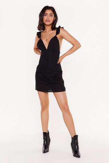 Womens Black Utterly Frilling Linen Mini Dress