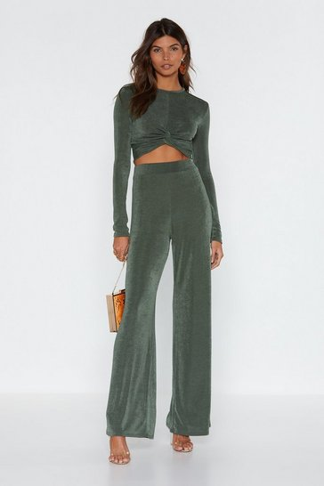 Womens Khaki I'm Knot Kidding Crop Top and Pants Set