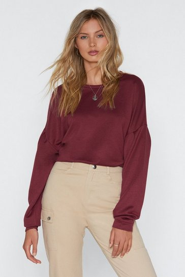 Womens Wine Keep It Cozy Oversized Sweatshirt