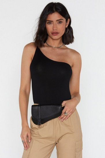 Black One in a Million One Shoulder Bodysuit