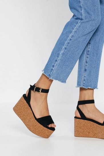 Womens Black Buckle Platform Wedges