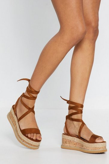 Womens Tan Keep Tie-ing Platform Cork Sandals