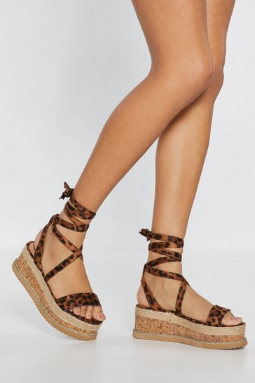 Womens Brown Enough With the Cork Leopard Platform Sandals