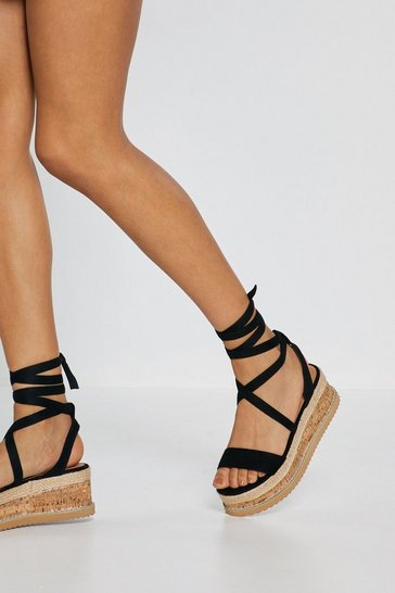 Black Lace Up Flatform Sandals with Wedge Sole