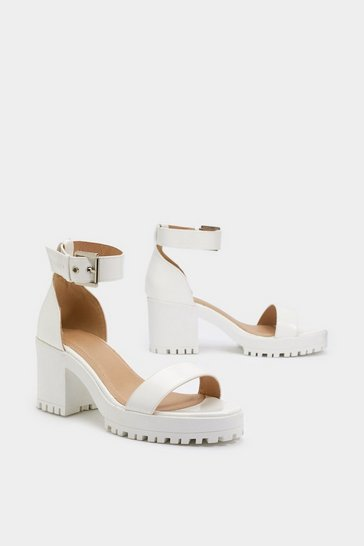 White Faux Leather Sandals with Low Block Heel