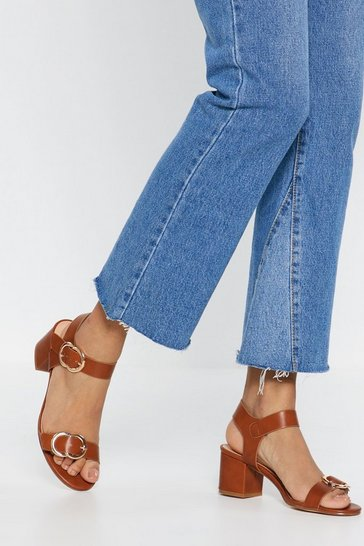 Womens Tan Block Heel Sandals