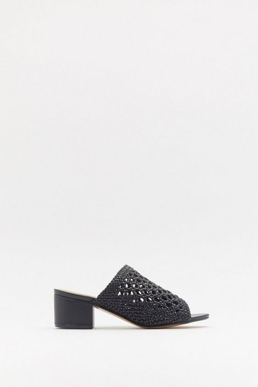 Womens Black Weave Got You Faux Leather Mules