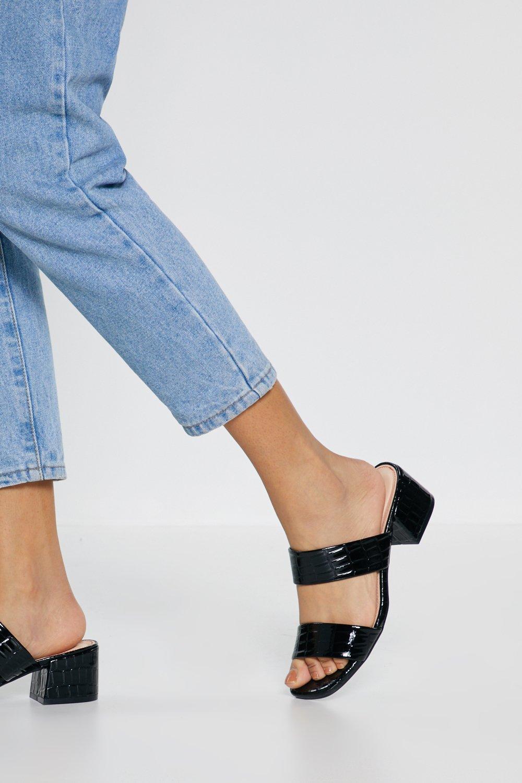 Croc Low Block Heel Sandals by Nasty Gal