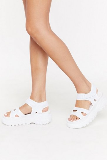 Womens White Walk the Walk Velcro Cleated Sandals