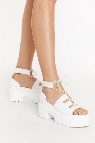 White Lace Cool Down Faux Leather Platform Sandals
