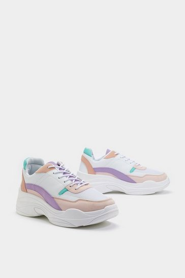 Womens White PU Colourblock Lace Up Trainers