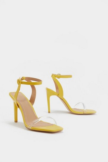 Womens Yellow Square Breed Strappy Heel