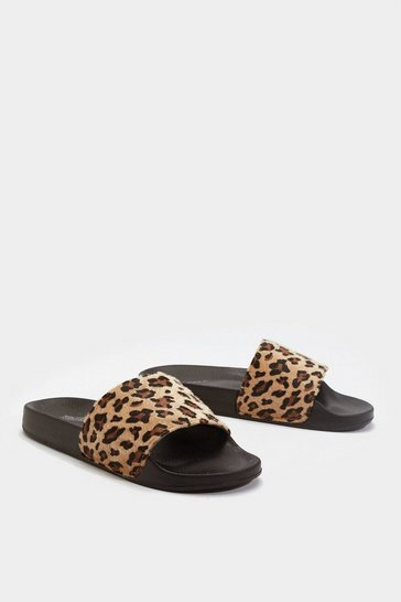 Womens Brown Paws for Thought Leopard Slider