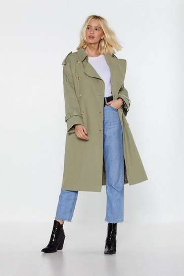 Womens Sage Return of the Mac Belted Trench Coat