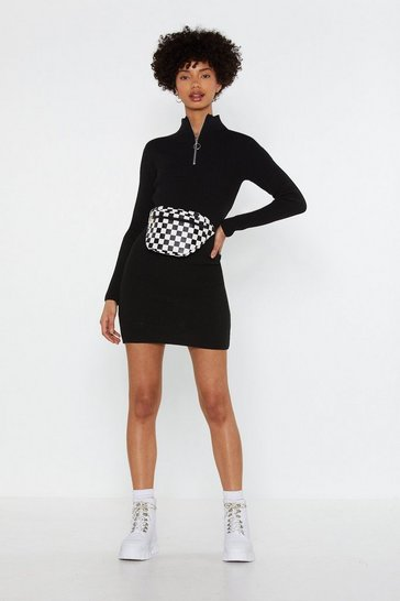 Womens Black Zip Top High Neck Mini Dress