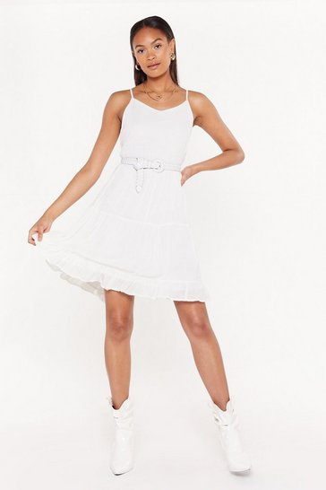 Womens Cream Give It a Twirl Tiered Cheesecloth Dress