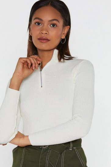 Womens White Zip It High Neck Sweater