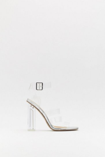 Womens Clear Triple Strap Perspex Block Heels
